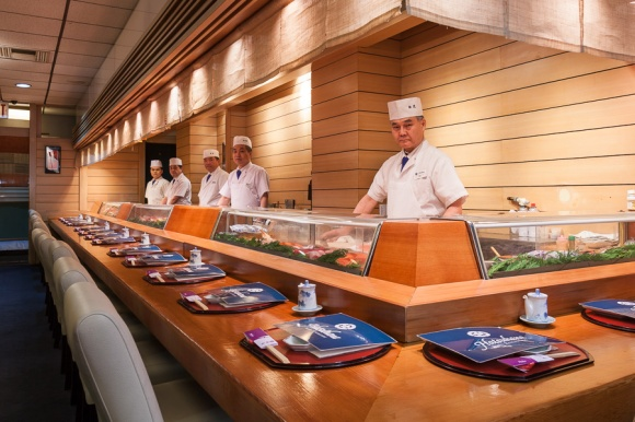The sushi bar at Hatsuhana