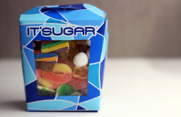 A price-fixed container of candy from IT'SUGAR