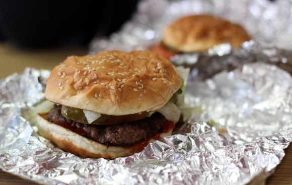 Two nut-free Five Guys burgers