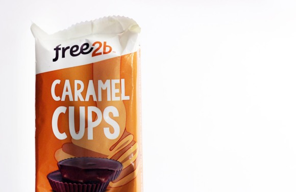 A pack of Free2b caramel cups