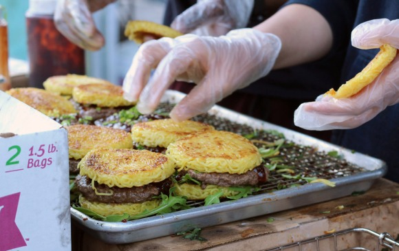 Ramen burgers, mid-assembly