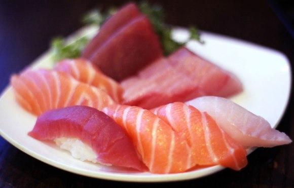 An assortment of sushi and sashimi from Kikoo Sushi
