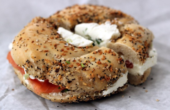 An everything bagel with lox, scallion cream cheese, and chives from Baz Bagel