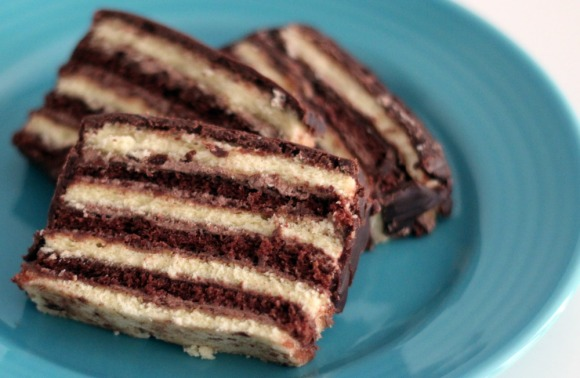 A few slices of a Stern's seven-layer cake