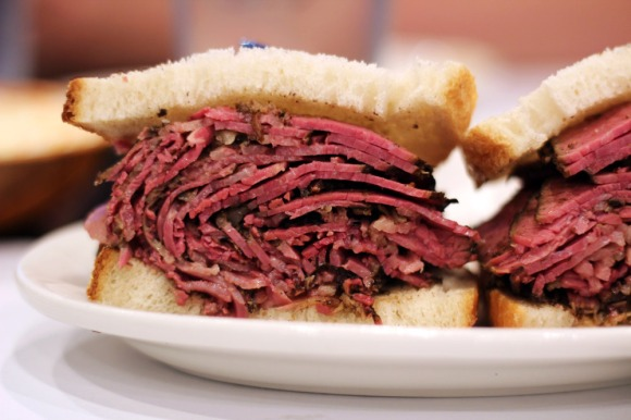 A pastrami sandwich from Essen NY Deli