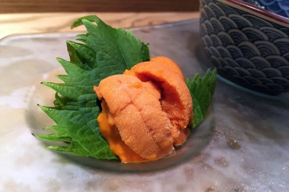 Half of Sushi Azabu's uni tasting