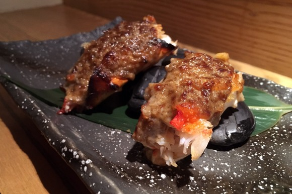 Grilled king crab with crab miso sauce from Sushi Azabu