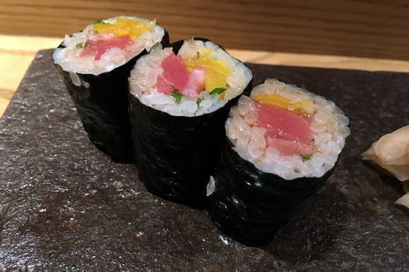 A tuna, oshinko, and shiso roll from Sushi Azabu
