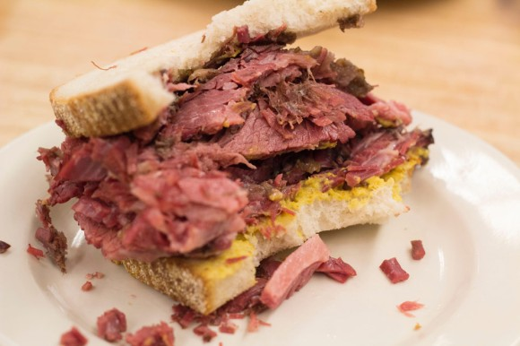 Half a corned beef on rye from Katz's Delicatessen
