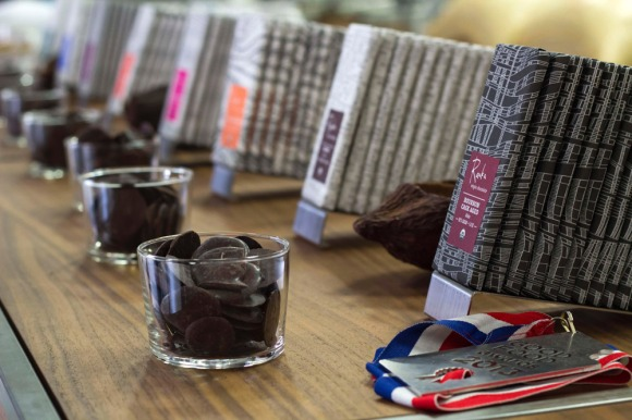 Free chocolate samples at Raaka's factory
