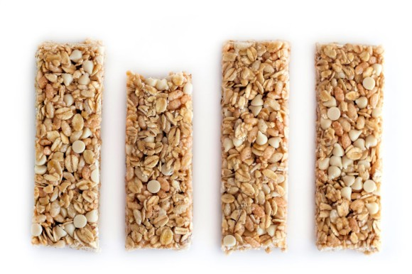 Four unwrapped Cascadian Farm Vanilla Chip granola bars