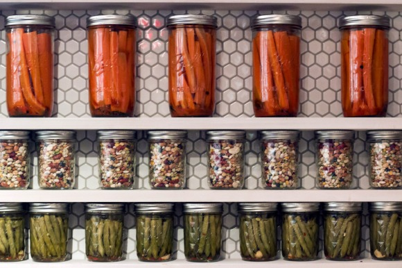 Mason jars lining the walls of
