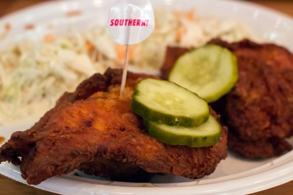A plate of fried chicken and cole slaw from Carla Hall's Southern Kitchen