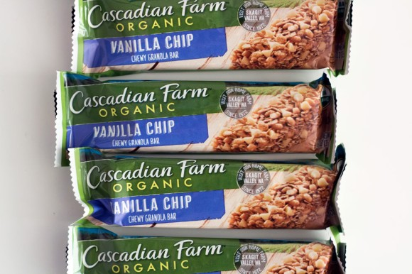 Four Cascadian Farm Vanilla Chip granola bars