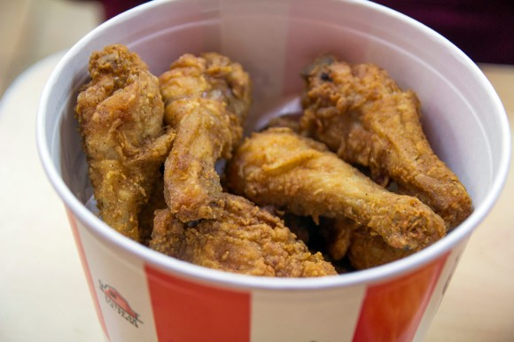 A bucket of chicken from KFC