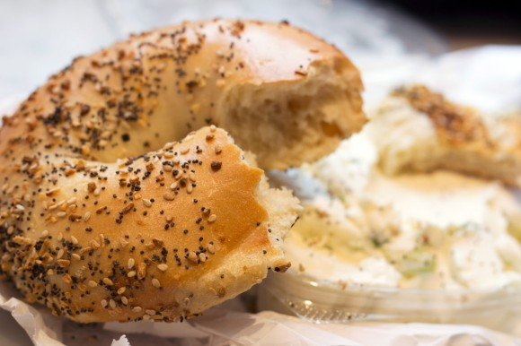 A Kossar's everything bagel with scallion cream cheese from Baz Bagel