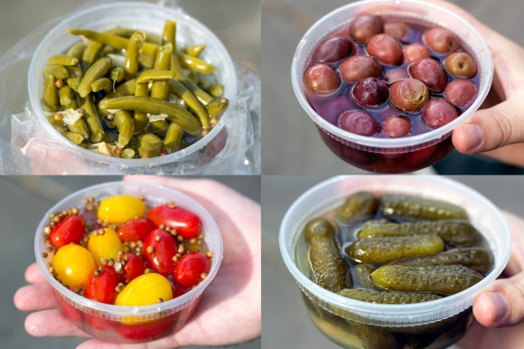 Pickled string beans, Greek olives, grape tomatoes, and