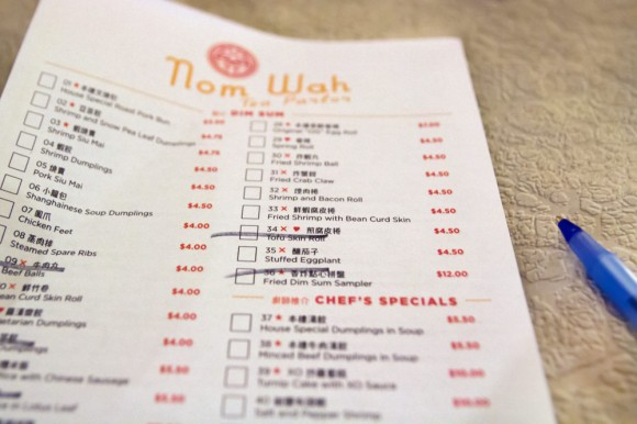 The menu at Nom Wah Tea Parlor