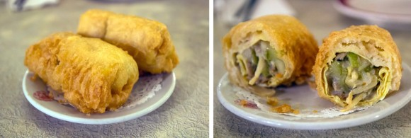 Two nut-free egg rolls from Nom Wah Tea Parlor