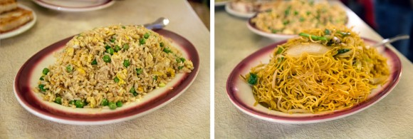 Fried rice and pan-fried noodles from Nom Wah Tea Parlor