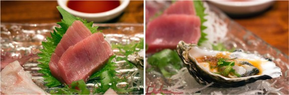 Tuna sashimi and an oyster from Sushi Katsuei