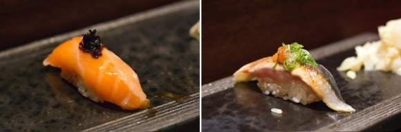 Salmon and an unidentified piece of sushi from Sushi Katsuei