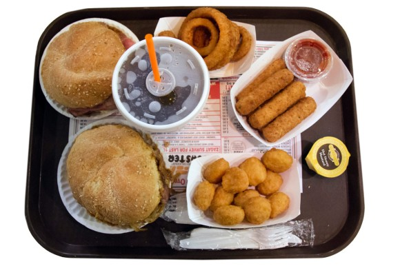 A tray of food from Roll-n-Roaster