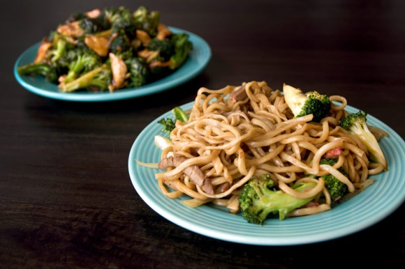 A dish of roast pork pan-fried noodles and a dish of chicken with broccoli from Tasty Hand-Pulled Noodles