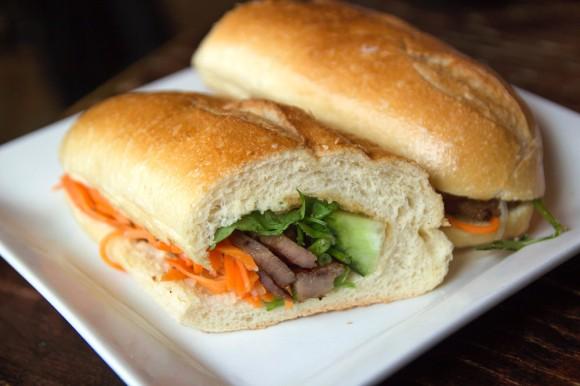 A grilled pork bánh mì from Sao Mai