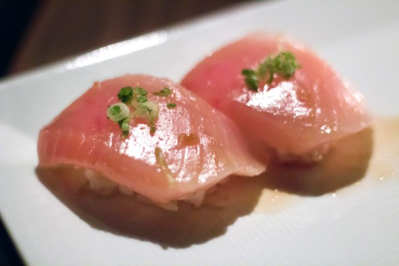 Two pieces of yellowtail sushi from Sugarfish