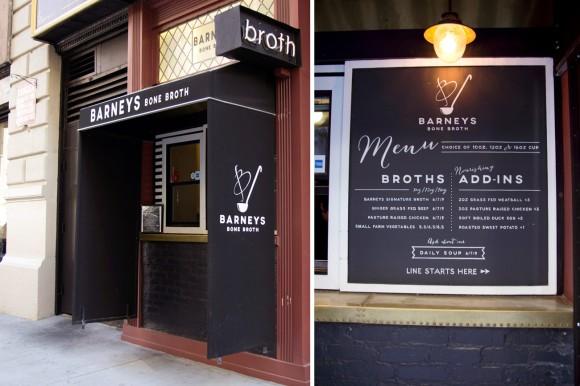 Barneys Bone Broth's sidewalk store (and their menu, too)