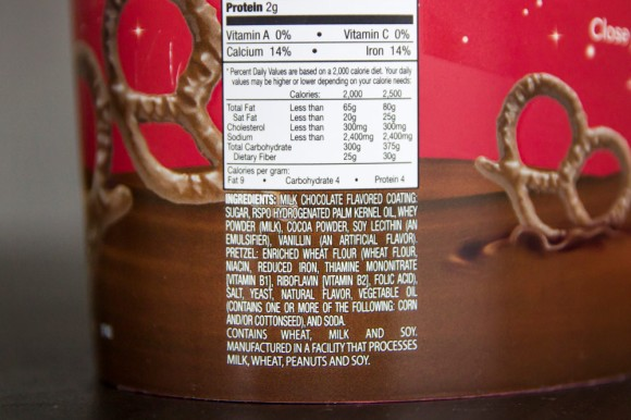 Ingredient information on the back of a Herr's chocolate-covered pretzels tub