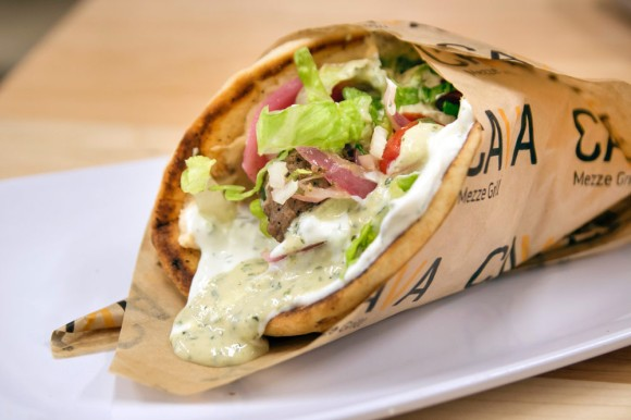 A nut-freemeatball-and-falafel pita from Cava Grill