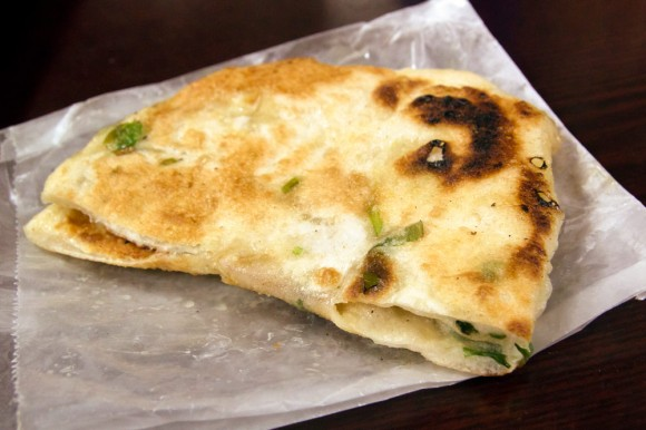 A scallion pancake from Tasty Dumpling