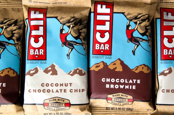 Two CLIF Bars: one Coconut Chocolate Chip, and one Chocolate Brownie