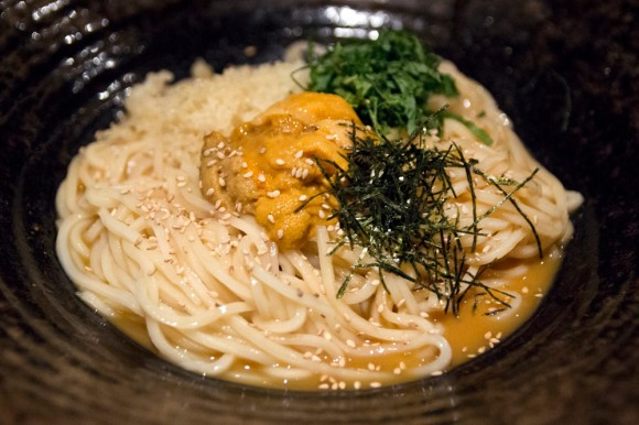 A bowl of uni udon from TsuruTonTan