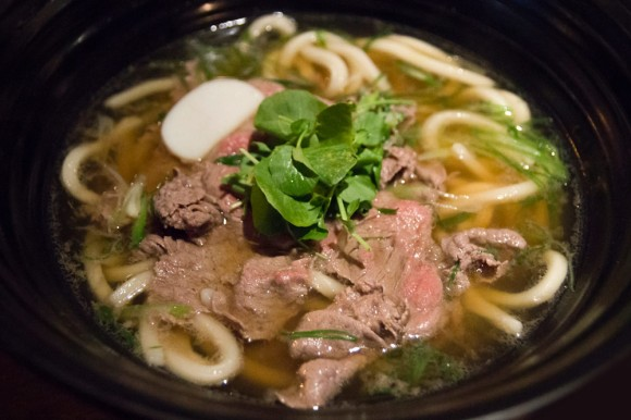 A bowl of US wagyu shabu udon from TsuruTonTan
