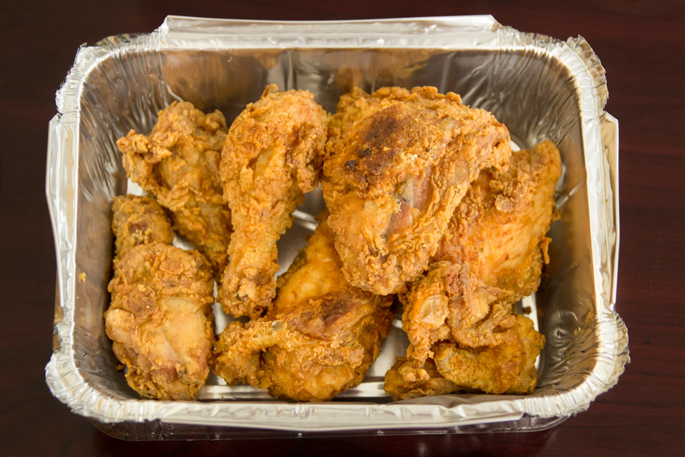 A tray of chicken from Charles' Pan-Fried Chicken