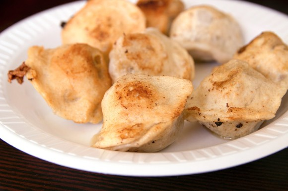 A plate of dill-and-pork dumplings from Tasty Dumpling