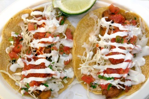 Two shrimp tacos from Los Mariscos