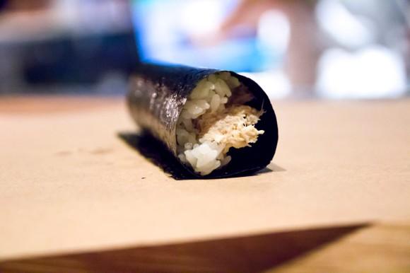 A crab hand roll from KazuNori