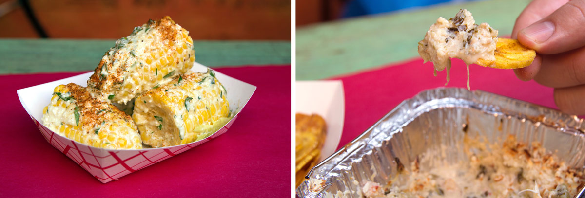 Corn on the cob and crabby dip with plantain chips from LoLo's Seafood Shack
