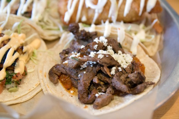 A grilled-steak taco from Dorado Tacos