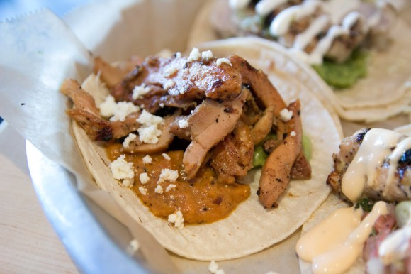 A grilled-chicken taco from Dorado Tacos