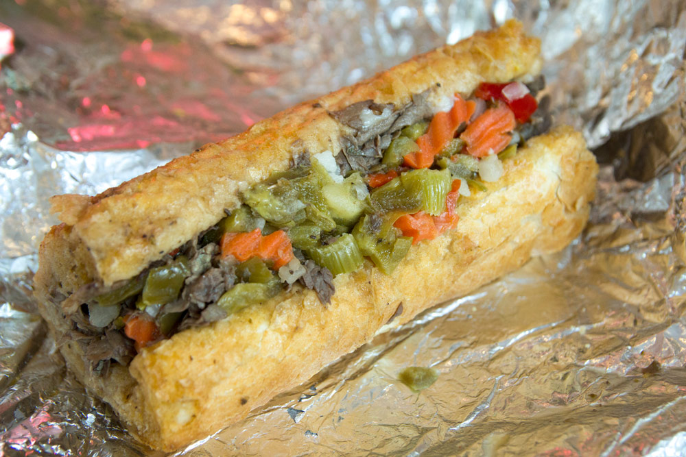 A quarter-pound Italian beef sandwich from Hank's Juicy Beef
