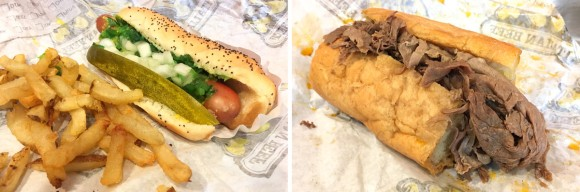 A Chicago dog and a Little Beef from Al's Italian Beef