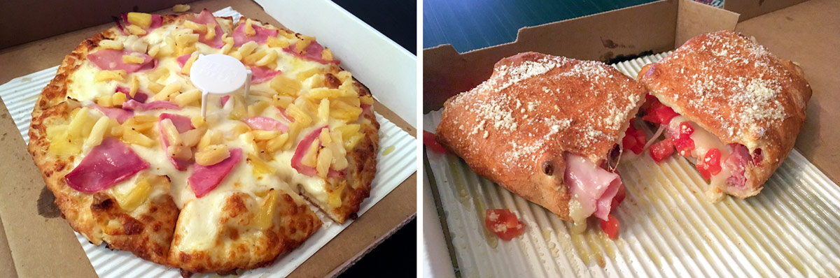 A build-your-own pie and a ham-and-cheese Deli Boat from Jet's Pizza