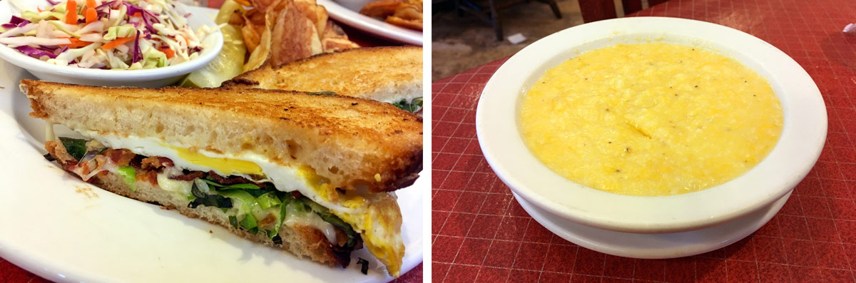 The Farm Favorite and a bowl of hot cheddar grits from Sweet Maple Café